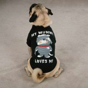 MY MUMMY LOVES ME T SHIRT Dog Puppy Halloween Costume