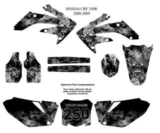 Honda CRF250R 2008 09 MX Graphic Kit Zombie Skull Metal