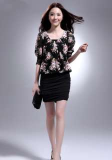 Sexy Women Romantic Rose Chiffon Party Mini Dress 0630