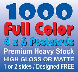 Custom Postcards Thick & Glossy, Full Color 1 or 2 Sides + FREE Design