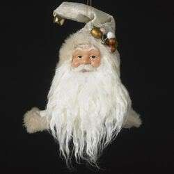 Kurt Adler Christmas Ornament Santa Head Tapestry Hat