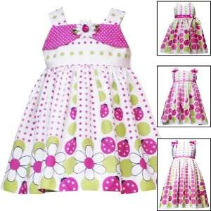FUCHSIA PINK LIME GREEN FLORAL LADYBUG DOT PRINT Spring Summer Dress