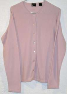 Womens Forte 100% Cashmere Cardigan Sweater Pink Sz Large L