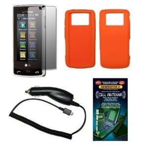 Solid Orange Silicone Gel Skin Cover Case + Screen