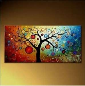 Modern Abstract Art Oil Painting Canvas Tree 24x48inch