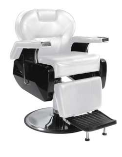 White Fashion Heavy Duty Hydraulic Recline Barber Chair Salon Beauty