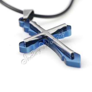 Mens Celtic Stainless Steel Cross Pendant Necklace Blue