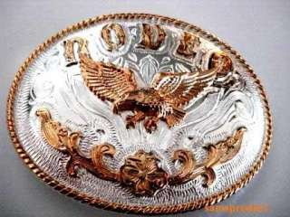Rodeo Cowboy Eagle Two Tone Color Western Belt Buckle
