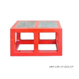 Red Lacquer Stone Top Contemporary Coffee Table