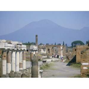 Vesuvius Volcano from Ruins of Forum Buildings in Roman Town, Pompeii