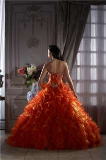 Custom Orange Wedding Dress Bridal Gown Ball Deb Quinceanera Prom Free
