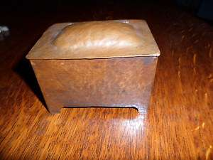 Arts & Crafts mission antique hand hammered copper jewelry box casket