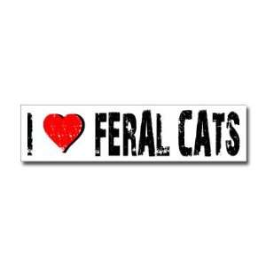 I Love Feral Cats   Window Bumper Sticker Automotive
