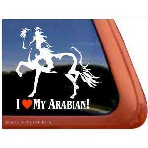I Love My Arabian Horse Trailer Vinyl Window Decal Sticker