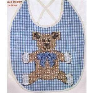 Chicken Scratch Baby Bib Kit   Blue Gingham with Bear Cross Stitch