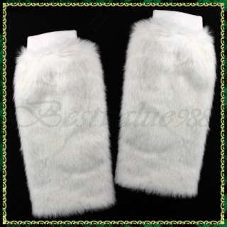 Ladys Faux Fur Leg Muffs Warmers Boot Covers Snow White