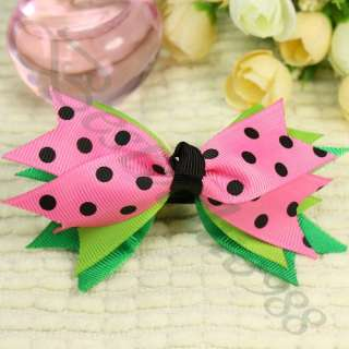 Baby Girl Hair Clip Polka Dots Pink Bow Boutique