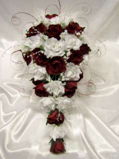 Wedding Flowers  BRIDAL ROSES/FEATHER TEARDROP BOUQUET