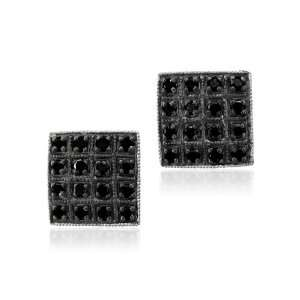 10k White Gold Black Diamond Earrings Studs  0.35 cttw My