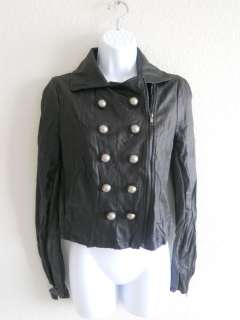 NWT MILITARY STYLE BLACK FAUX LEATHER WOMENS JACKET HOT