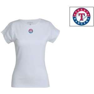 Texas Rangers Womens Signature T shirt by Antigua Sport   White Extra