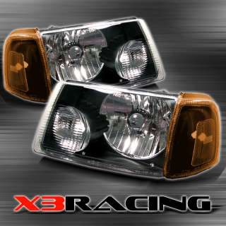 01 08 FORD RANGER COMPLETE HEAD LIGHTS+CORNER LAMPS SET BLACK/AMBER