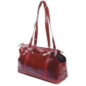 Aurora Paola Fine Italian Leather Pet Carrier  Color RED