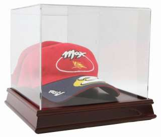 DELUXE CHERRY WOOD BASE HAT CAP DISPLAY CASE HOLDER