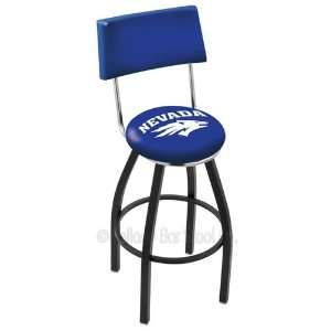 Nevada Wolf Pack Logo Black Wrinkle Swivel Bar Stool with