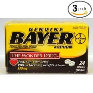 Bayer Genuine Pain Reliever / Fever Reducer Aspirin 325 Mg, 24 Tablets