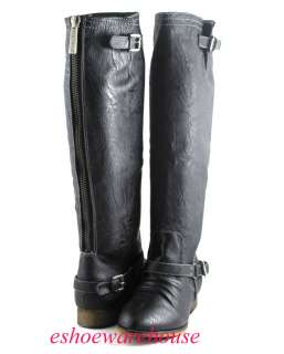 Black 5th Ave City Chic Style Awesome Riding Knee Boots Textured