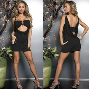 Open Front Black Dress w/ Jeweled Tube Top   One Size