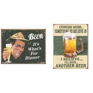 com Nostalgic Beer Humor Tin Metal Sign Bundle   2 retro signs Beer