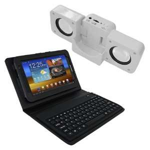 Keyboard+White Speaker Fold up Docking Station For Samsung Galaxy Tab