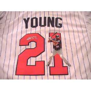 DELMON YOUNG SIGNED AUTOGRAPHED JERSEY MINNESOTA TWINS COA
