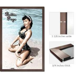 Slate Framed Bettie Page Poster Pin Up Girl Beach FrRp522