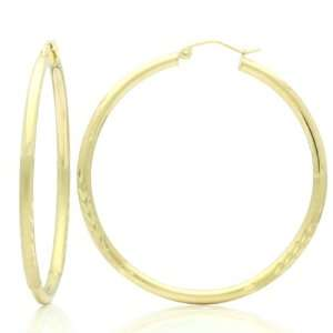 14K Gold Hoop Earrings 2.5mm X 1.4 Rond Diamond Cut & Satin Accents