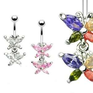 Double jeweled butterfly belly ring, clear Jewelry