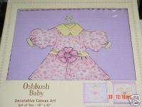 OshKosh Paper Dolls WALL HANGING canvas art dress up pink purple