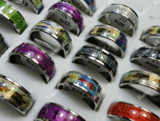 wholesale jewelry mixed lots 50pc color drip stainless steel rings