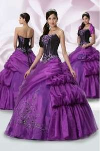 Custom Purple 2012 Embroidery Quinceanera Dresses Ball Gown Prom Party