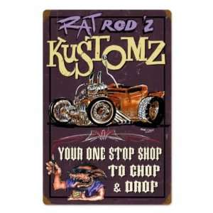 Rat Rodz Kustomz Vintage Metal Sign Hot Rod