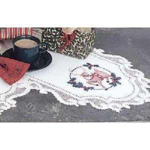 Lace Holly Jolly Christmas Table Runner 14 x 36 White