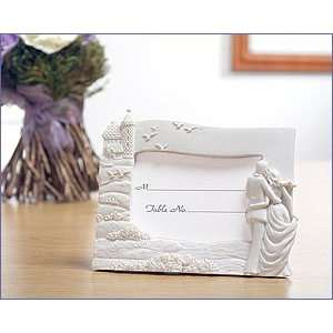 White Place Card Frame Castle With Bride & Groom Design