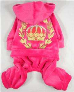 Styles New Pet Dog Clothes Crown Velvet Jumpsuit Hoodies Apparel XS