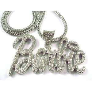 NEW NICKI MINAJ BARBIE Pendant w/Franco Chain Silver LG Clear Jewelry
