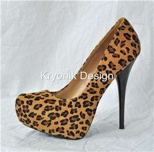 Pleaser Gorgeous 20 leopard print fur platform stiletto heels pumps