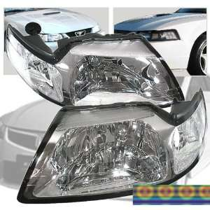 99 04 Ford Mustang Crystal Clear Headlights 00 01 02 03