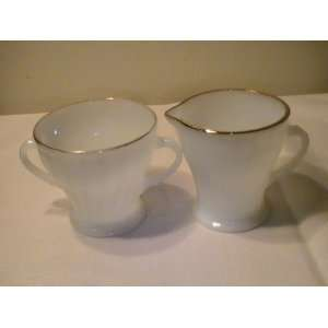Vintage Anchor Hocking Fire King Gold Trimmed Creamer and