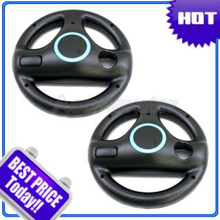 BLACK MARIO KART RACING STEERING WHEEL FOR WII GAME